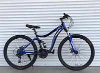 Спортивный велосипед  горный двухподвесный TopRider-910 26 дюймов Шимано Дисковые тормоза, синий