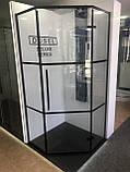 Душевая кабина Dusel DL197HBP Black Matt Paint, 90х90х190, пятиугольная, профиль черный, стекло прозрачное, фото 3