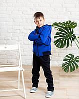 Теплый спортивный костюм для мальчика на флисе синего цвета
