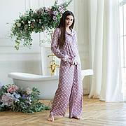 Пижама шелковая в горошек с брюками клеш и  рубашкой пудра