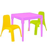Детский стол для творчества + 2 стула Разноцветные 18-100-29, КОД: 1130291