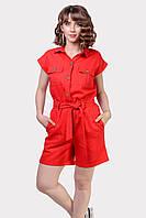 Летний яркий женский комбинезон красного цвета из  льна