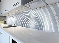 Кухонный фартук Дуги, виниловая самоклеющаяся пленка, наклейка на кухню, скинали на стену, Серый, 600*3000 мм