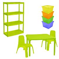 Комплект детской мебели Малыш 4 стол + 2 стула + стеллаж + 4 емкости для игрушек 18-100-35, КОД: 1130297