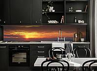 Кухонный фартук Закат солнца в горах виниловая пленка на кухню скинали на стену Оранжевый 600*3000 мм