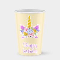 Стаканчик бумажный Единорог С днем рождения