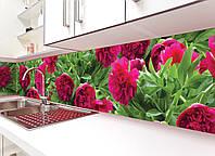 Кухонный фартук Пышные пионы, виниловая пленка, наклейка на кухню, скинали на стену, Зеленый, 600*3000 мм