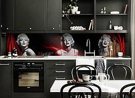 """Скинали на кухню Zatarga """"Монро"""" 650х2500 мм черный виниловая 3Д наклейка кухонный фартук самоклеящаяся"""