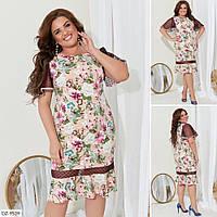 Принтованное летнее платье со вставками сетки Размер: 50, 52, 54, 56 Арт: 2836