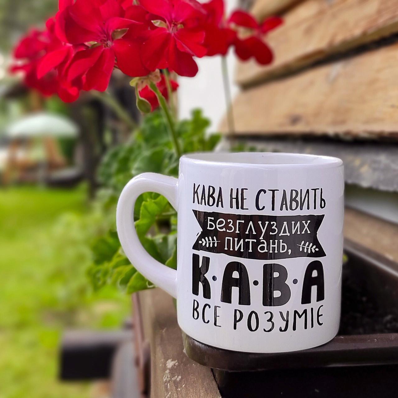Кружка маленькая Кава не ставить безглуздих питань, кава все розуміє 170 мл (KRD_20M078)