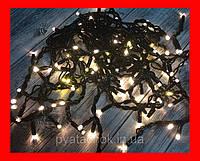 Новогодняя гирлянда уличная Бахрома LED 480 желто-белая, чёрный провод