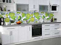Кухонный фартук Лаймы Мята Вода (наклейка виниловая, скинали для кухни) цитрусы, капли, зеленый 600*2500 мм