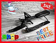 Санки - снегокат  с рулем 0125 (черный и синий)