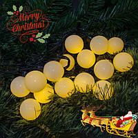 Светодиодная гирлянда «НИТЬ ШАРИКИ» 50 led , (черный кабель, желтый), фото 1