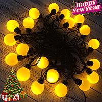 Новогодняя гирлянда-нить светодиодная шарики Led 20 «Радуга» (черный провод, желтый), фото 1