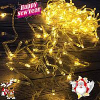 Новогодняя гирлянда-нить 400 Led 18 м (прозрачный провод, желтый), фото 1