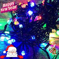 """Новогодняя гирлянда-нить """"Кристалл"""" 100 Led 7 м (черный провод, мульти), фото 1"""