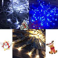 """Новогодняя гирлянда """"Нить"""" уличная 100 LED, 10 м (белый провод, синий / холод. белый / тепл. белый), фото 1"""