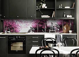 """Скинали на кухню Zatarga """"Лодки"""" 650х2500 мм розовый виниловая 3Д наклейка кухонный фартук самоклеящаяся"""
