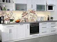 Кухонный фартук Абстрактные завитки растительные (наклейка виниловая скинали для кухни) бежевый 600*3000 мм, фото 1