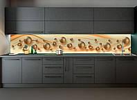 Кухонный фартук Жемчуг (наклейка виниловая скинали для кухни) шары жемчужины абстракция бежевый 600*2500 мм