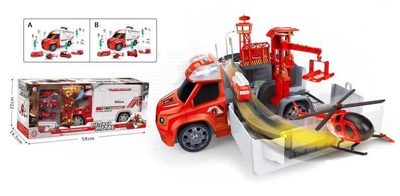 """Гараж 95577-22 """"Пожарная станция"""" (8/2) 2 вида, световые и звуковые эффекты, в коробке"""