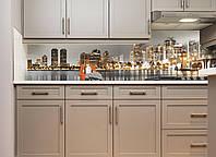 Кухонный фартук Золотой Город (наклейка виниловая, скинали для кухни пленка) небоскребы, серый, 600*3000 мм