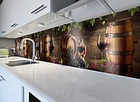 Кухонный фартук Виноград и Винные бочки (наклейка виниловая скинали для кухни пленка) деревянный 600*3000 мм