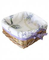 Хлібниця плетена з чохлом Living Лаванда 20х20 см SKL58-252135