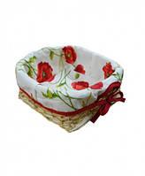 Хлібниця плетена з чохлом Living Маки 20х20 см SKL58-252136