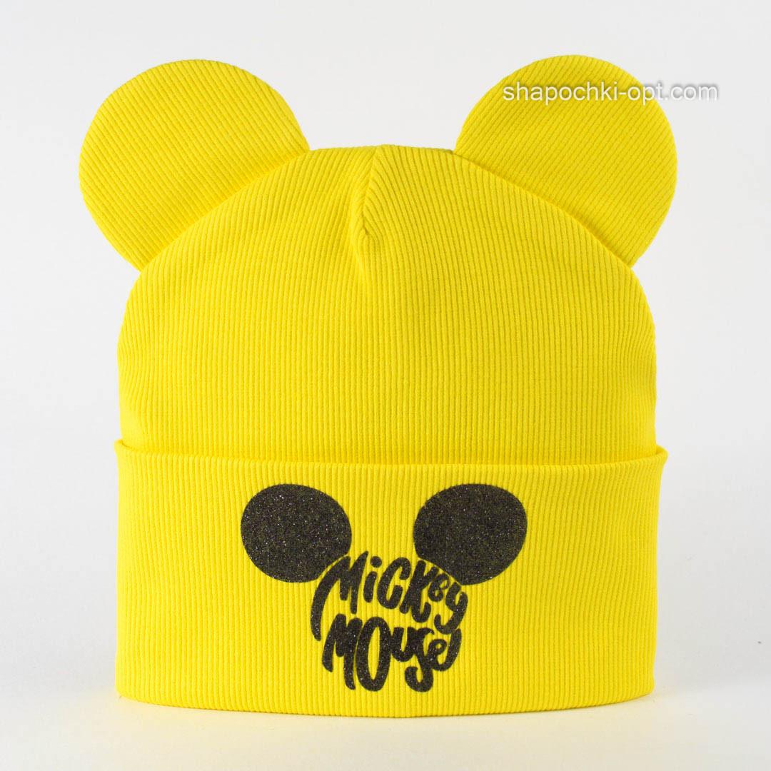 Стильная шапочка с ушками Майли лимон
