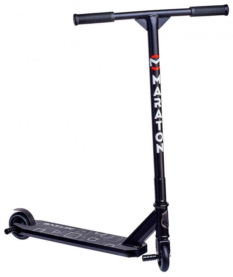 Трюковой самокат Maraton Active,Черный, с пегами, до 120 кг