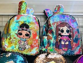 Рюкзак детский с ушками,  LOL и пайетки, светится по канту, фото 2