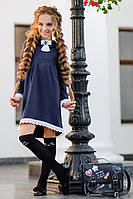 Асимметричное школьное платье синее