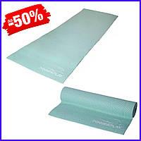Коврик для фитнеса и йоги PowerPlay 4010, каремат для йоги 173х61х0,4 см, йогамат нескользящий мятный