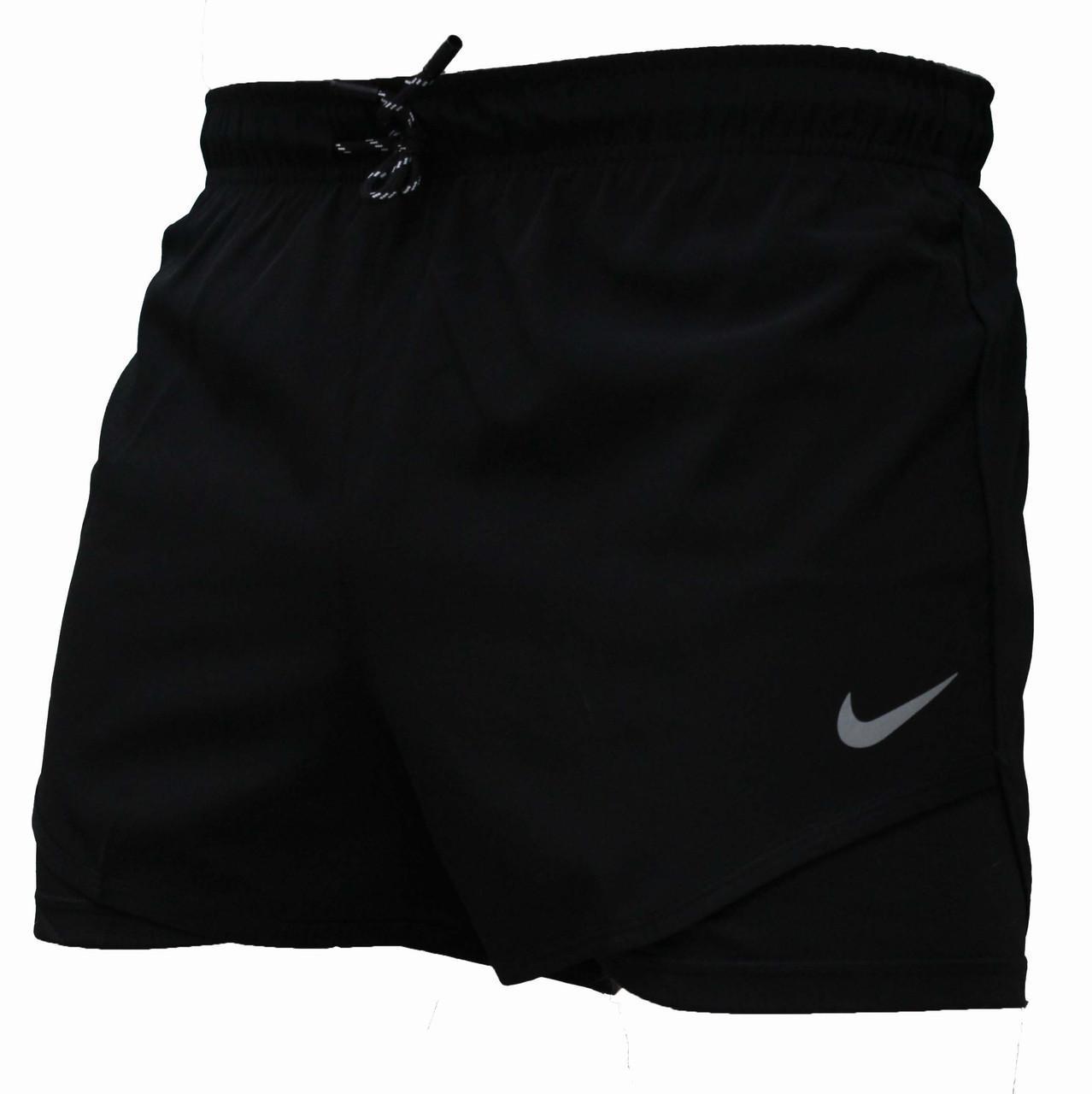 Мужские черные короткие шорты для плавания стрейч беговые с вырезом (Реплика)