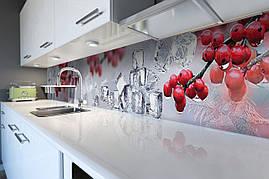Кухонный фартук самоклеющийся Красные Ягоды Лед скинали для кухни наклейка ПВХ зимний натюрморт 600*2500 мм