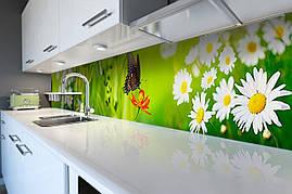 Кухонный фартук самоклеющийся Бабочка 02 скинали для кухни наклейка ПВХ трава ромашки зеленый 600*2500 мм