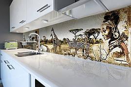 Кухонный фартук Этно Сафари самоклеющийся скинали для кухни наклейка ПВХ слоны зебры Африка 600*2500 мм