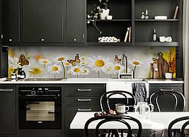Кухонный фартук самоклеющийся Нежные Ромашки 02 скинали для кухни наклейка ПВХ бабочки желтый 600*2500 мм