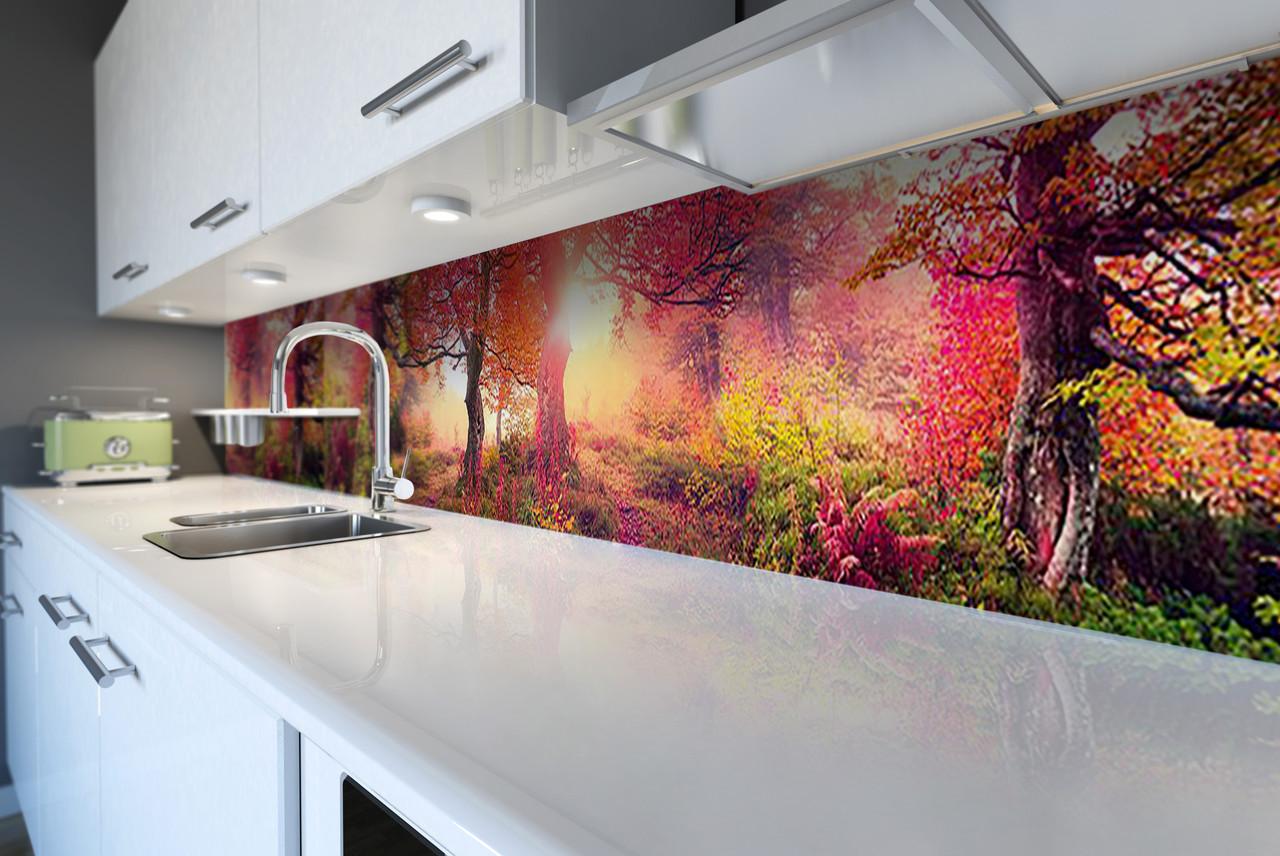 Кухонный фартук самоклеющийся Осенний сад лес (скинали для кухни наклейка ПВХ) деревья осень оранж 600*2500 мм