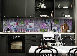 Кухонний фартух самоклеющийся Бузок Фарби Кисті скіналі кухні наклейка ПВХ дошки фіолетовий 600*2500 мм