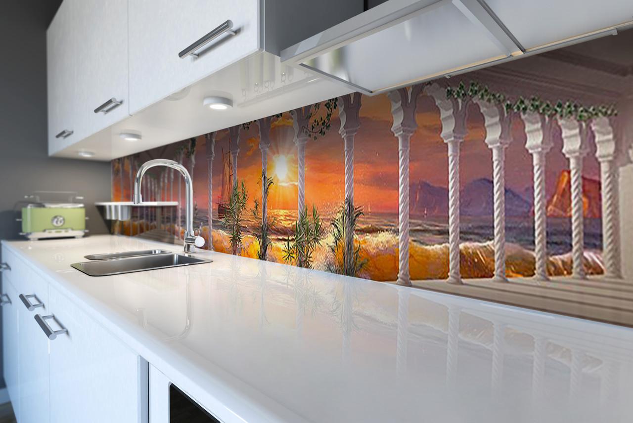 Кухонный фартук самоклеющийся Красочный закат (скинали для кухни наклейка ПВХ) колоны море корабль 600*2500 мм