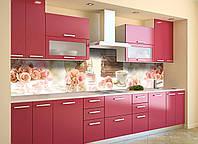 Кухонный фартук самоклеющийся Время 02 (скинали для кухни наклейка ПВХ) розы ретро печная машинка 600*2500 мм