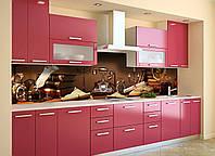Кухонный фартук самоклеющийся Ретро Телефон (скинали для кухни наклейка ПВХ) натюрморт коричневый 600*2500 мм
