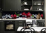 Кухонный фартук самоклеющийся Алая орхидея Черные камни (скинали для кухни наклейка ПВХ) черный 600*2500 мм, фото 1