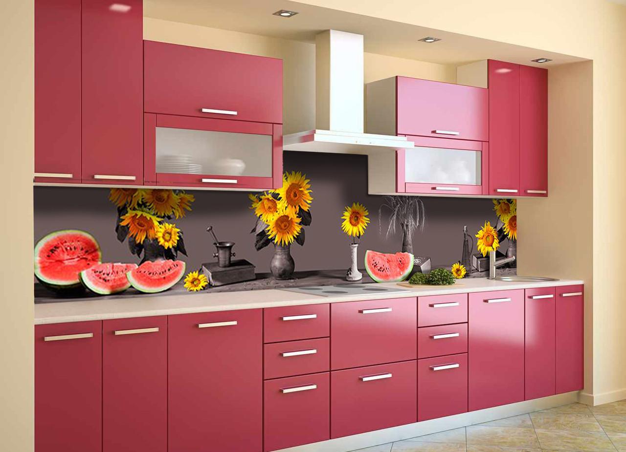 Кухонный фартук самоклеющийся Подсолнухи Арбузы (скинали для кухни наклейка ПВХ) натюрморт серый 600*2500 мм