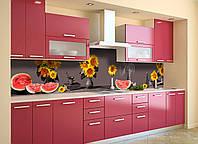 Кухонный фартук самоклеющийся Подсолнухи Арбузы (скинали для кухни наклейка ПВХ) натюрморт серый 600*2500 мм, фото 1