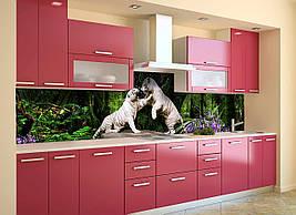 Кухонный фартук самоклеющийся Белые тигры скинали для кухни наклейка ПВХ животные зеленый 600*2500 мм
