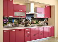Кухонный фартук самоклеющийся Домики Прованс (скинали для кухни наклейка ПВХ) ретро коричневый 600*2500 мм